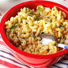 Summer Macaroni Salad Recipe -When we grill, my mother asks me to make the family macaroni salad. To make it extra creamy, I like to keep a small amount of dressing separate and stir it in just before serving. —Carly Curtin, Ellicott City, Maryland