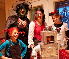 One of my favorite Halloween years! Family friendly ideas for costumes from goodncrazy.com Carissa Rogers... Dad as the Wicked Witch, Mom as a pirate, Teen as Minnie Mouse and rounded out with Pippi Longstocking and A Friendly Robot!