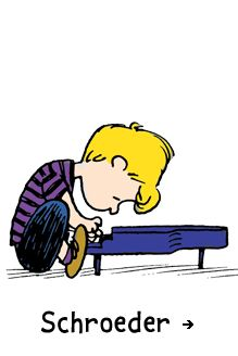 Schroeder~FIRST APPEARANCE: May 3, 1951. This mini musical genius is rarely separated from his toy piano or his idol, Beethoven.