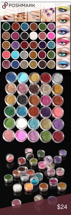 Eyeshadow and Nail Glitter ✨ 30Pcs/Set Colors mixed glitter loose powder eyeshadow eyeshadow cosmetics   -Fine Loose Powder Glitter and can be used for face, body, nail art or craft.  -Perfect for Professional or Personal use  -Color:Random Color (More the color than the picture shown,we will sent it by random.)  -Weight:App 190g/30pcs Eyeshadow Makeup Eyeshadow