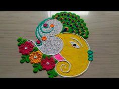 Beautiful Lord Ganesh Rangoli Designs for Easy and Simple to Make Easy Rangoli Designs Diwali, Diwali Special Rangoli Design, Rangoli Simple, Indian Rangoli Designs, Simple Rangoli Designs Images, Rangoli Designs Flower, Free Hand Rangoli Design, Rangoli Designs Latest, Rangoli Border Designs