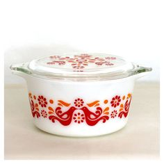 Vintage 70s Pyrex Friendship Pattern Casserole Dish with Lid on Etsy, $20.00