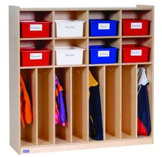 Eight Section Locker from Honor Roll Childcare Supply. I need you to build this Todd! Daycare Spaces, Home Daycare, Daycare Setup, Daycare Ideas, Preschool Rooms, Preschool Classroom, Preschool Projects, Classroom Furniture, Kids Furniture