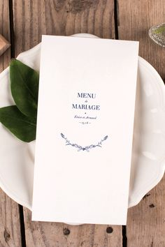 Menu de mariage pour ambiance nature et champêtre - Illustrations bleues vintage ! #wedding #menu #table #vintage #nature #blue