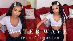Elemo 360 Lace Frontal Wigs With Baby Hair Water Wave 100% Virgin Human Hair – Elemo Hair Human Lace Front Wigs, 100 Human Hair Wigs, Natural Hairstyles, Wig Hairstyles, Straight Hairstyles, 360 Lace Wig, Lace Wigs, Water Waves, Lace Frontal