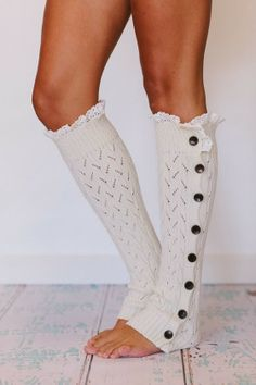 White Side Lace Button Leg Warmers, cute! Totally want me some leg warmers!