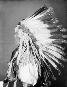 Wakinyanzi or Wakinyan Pazi (Yellow Thunder), Dakota Yankton, in Partial Native Dress with Peace Medal, Headdress and Breastplate and Holding Pipe and Bag - Gill - MAR 1905