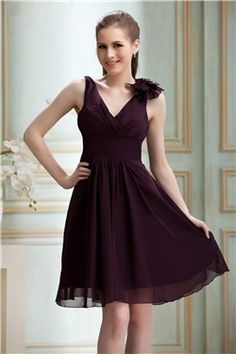 Ruched Flower A Line V Neck Knee Length Dress.  would be better without the flower thing on the shoulder.