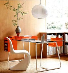 beautiful home office iconic chair design orange beautiful home office view