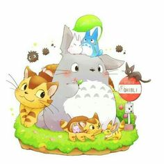 My Neighbor Totoro, cute, bus stop, text; Studio Ghibli