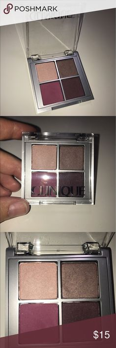 Clinique All About Shadow Quad Super cute Clinique eyeshadow quad with the shades hazy, ballet flats, chocolate covered cherry, and raspberry beret. Only swatched the shadows once, plenty of product left! I just don't reach for it bc I have similar things in my collection. No trades, bundle 3+ items to save 15%. I ship the same day or very next day! I accept most offers so just make one :) Clinique Makeup Eyeshadow