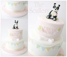 with bunting and Panda Cake topper :-) Baby Girl Christening Cake, Christening Party, Baptism Cakes, Cute Cakes, Pretty Cakes, Bolo Panda, Dedication Cake, Panda Cakes, Cake Bunting