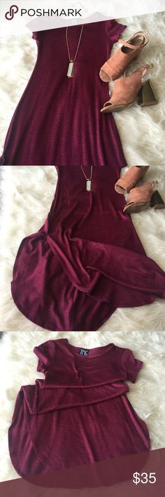 TMG dress NWOT/41' shoulder to hem/ nice and sexy slit  on sides magenta color (?) tag is small (fits S) TMG Dresses Midi