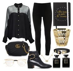 """Black & gold"" by decimaollin ❤ liked on Polyvore featuring Gucci, Elie Tahari, Ghidini 1961 and Chanel"