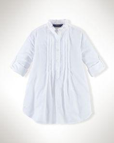 Pintucked Cotton Shirt - Tops & Tees  Girls' 7–16 - RalphLauren.com