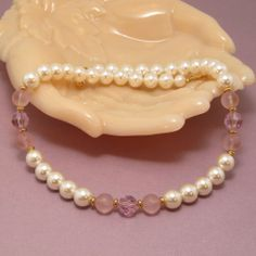 Vintage Napier Faux Pearl and Lavender Lucite Beaded Necklace