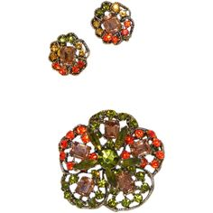 """Autumn Rhinestone Pin Clip Earrings Set.  ON SALE NOW at """"Vintage Jewelry Star"""" shop at http://www.rubylane.com/shop/vintagejewelrystar !!"""