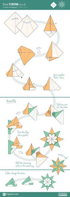 Diagram for an modular origami star, Corona Grande Star, designed by Maria Sinayskaya. Origami Modular, Instruções Origami, Origami Star Box, Origami Ball, Origami Dragon, Origami Folding, Useful Origami, Origami Design, Heart Origami