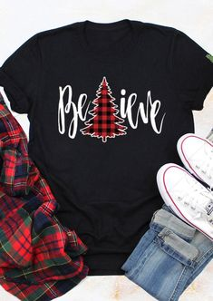 Plaid Christmas Tree Believe T-Shirt Tee - Black - Fairyseason Cute Christmas Shirts, Christmas T Shirt Design, Plaid Christmas, Christmas Sweaters, Christmas Trees, Christmas Manger, Christmas Vinyl, Xmas Shirts, Hallmark Christmas