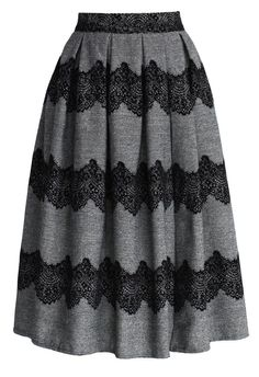 Lace Trimmed Pleated Twill Midi Skirt