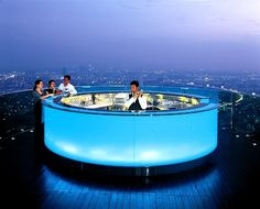 """Sirroko"""", Bangkok Probably there is no place in Bangkok where you can dine with more adrenaline in the blood. Bar on the 64th floor hotel Bread offers a fantastic view of the city on all four sides, particularly beautiful night scenery, filled with countless city lights."""
