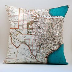Vintage map pillows. Could do a great collection of places we've visited. Also, home state map pillows would make great gifts for family/friends. (Etsy Saltlabs store)