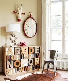 deer & clock wall - wood letters decor  I think this is the same clock at Pier One!  I love it!