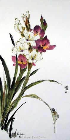Here's a Chinese painting style gladiolus that I painted recently. You can see more on my facebook painting page. - Virginia Lloyd-Davies