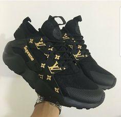e1e772703d47d4 Men Custom Nike Huarache SUPREME X Louis Vuitton