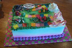 Candy Land themed birthday sheet cake