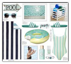 """Pool Party"" by marionmeyer on Polyvore featuring interior, interiors, interior design, Zuhause, home decor, interior decorating, ZeroUV, Pottery Barn, adidas Originals und Jennifer Lopez"