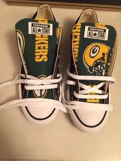 Converse Chuck Taylors Adult Sneakers Black Custom Green Bay Packers Football NFL Print Converse Chuck Taylors free shipping in the USA