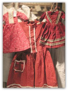 19th c. Grouping of Red Calico Dresses. Wonderful early red!!
