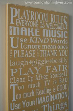 Decorate your Playroom and let all the kids know the Rules with this fun sign. Playroom Rules Sign Typography Word Art by barnowlprimitives Playroom Rules, Playroom Ideas, Playroom Art, Basement Ideas, Disney Playroom, Garage Playroom, Daycare Ideas, Toy Rooms, Game Rooms