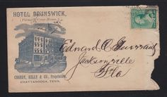 USA 1880'(?) HOTEL BRUNSWICK ADVERTISING COVER CHATTANOOGA TENNESSEE TO FLORIDA
