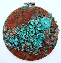 My Rust Paste, Patina Paste and Mechanicals turned into this gorgeousness in hands of talented… Altered Canvas, Altered Art, Mixed Media Collage, Mixed Media Canvas, Finnabair Mixed Media, Scrapbooking, Assemblage Art, Texture Art, Vintage Diy
