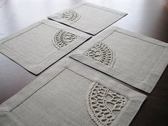 Set of 4 square table napkins from natural color linen fabric with crocheted linen yarn applique. Very versatile size: mini placemat or maxi coaster. Crochet Home, Hand Crochet, Sewing Crafts, Sewing Projects, Selling Handmade Items, Mug Rugs, Linen Fabric, Grey Fabric, Table Covers
