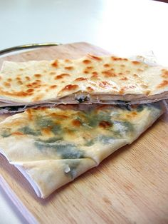 My Turkish Kitchen: GÖZLEME (very much like a quesadilla, the yufka is often stuffed with dried cheese, spinach or potato, and fresh herbs)