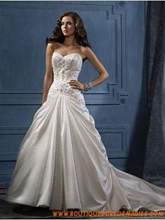 Robe de mariée trompette satin perles col coeur