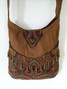 Brown and Teal Gypsy Bag with Brass Beads Messenger Bag Bohemian large Tapestry bag renaissance bag messenger bag medieval bag Hippie Bags, Boho Bags, Tapestry Bag, Bohemian Tapestry, Bohemian Gypsy, Ethno Style, Hippie Style, Bohemian Style, Boho Chic