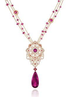 CHOPARD - A FINE RUBELLITE AND DIAMOND 'BYZANTINE' SET Limited Edition