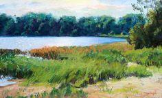 "2/2/15 | Lake Cove by Takeyce Walter | 12x7"" | Pastel A lake in Cape Cod."
