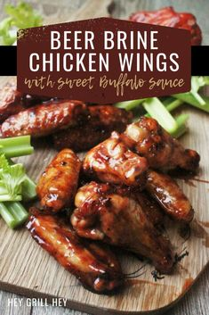 These Beer Brine Chicken Wings are handheld little morsels of tasty goodness. Nothing compares to a crispy, juicy wing exploding with flavor. Throw in a beer brine and a sticky sweet Buffalo sauce, and you may never make chicken wings the same way again! Teriyaki Chicken, Bbq Chicken Bombs, Chicken Wing Sauces, Cooking Chicken Wings, Chicken Wing Recipes, Chicken Sauce, Brine For Chicken Wings Recipe, Chicken Meals, Keto Chicken