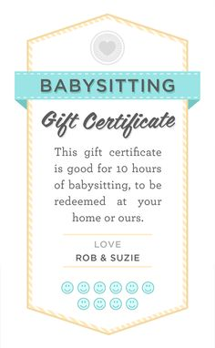 Babysitting gift certificate download - fully customizable PSD or PDF