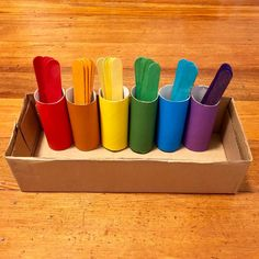 Here's a simple colour sorting activity using tp rolls, cardboard box, coloured paper and large coloured popsicle sticks. Motor Skills Activities, Toddler Learning Activities, Sorting Activities, Montessori Activities, Color Activities, Infant Activities, Kids Learning, Teaching Toddlers Colors, Color Sorting For Toddlers