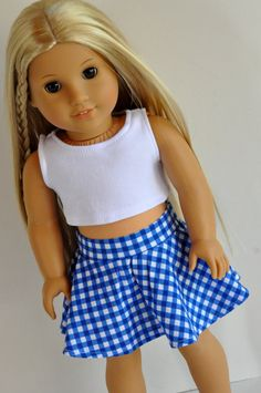 American Girl Doll Clothes 18 Inch Doll Clothes Blue Gingham Skater Skirt by CircleCSewing