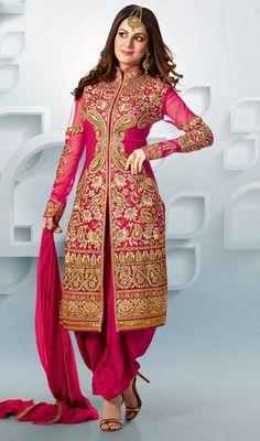 Pink Shade Georgette Patiala Suit
