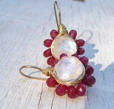Red Jewelry Ruby Jewelry Moonstone Earrings by yifatbareket ❤