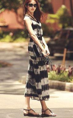 #sheinside Black White Striped Sleeveless Chiffon Tank Dress - Sheinside.com