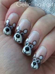 Gelic' nail art: Teddy bear funky french for Finland